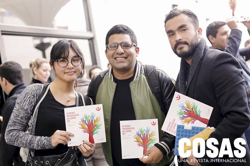 Estefanía Ku, Yuri Cabrero y Alberto Demarini, representante de Social Lab.